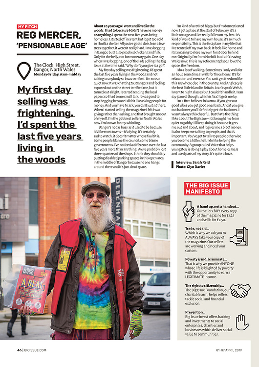Portrait of Reg Mercer, the colourful, whistling Big Issue seller in Bangor, North Wales. <br /> <br /> This was a direct commission from The Big Issue and was actually a very positive job to work on, and Reg seemed like a really good, hard-working bloke who seemed to know and be friendly with everyone!