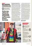 Portrait of Reg Mercer, the colourful, whistling Big Issue seller in Bangor, North Wales. <br />