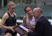Jan 18, 2019; Reno, NV, USA; Katie Nageotte (USA), left, and Katerina Stefanidi (GRE) talk with USA Track & Field official Craig Cooper during the UCS Spirit National Pole Vault Summit at the Reno-Sparks  Livestock Events Center.
