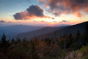 The sunset shares it's color with the clouds above Clingmans Dome. Great Smokey Mountains, Tennessee.