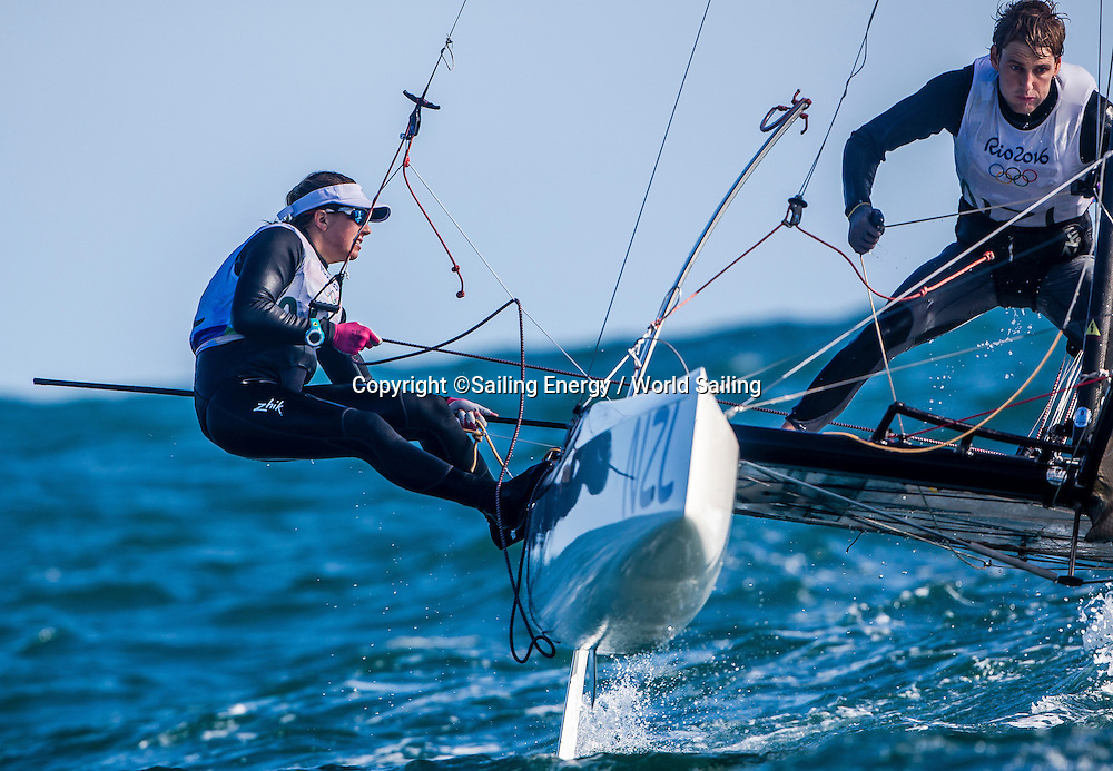 Gemma Jones and Jason Saunders of New Zealand compete in the Nacra 17 class. The Rio 2016 Olympic Sailing Competition features 380 athletes from 66 nations, in 274 boats racing across ten Olympic disciplines. Racing runs from Monday 8 August through to Thursday 18 August 2016 with 217 male and 163 female sailors racing out of Marina da Gloria in Rio de Janeiro, Brazil. Sailing made its Olympic debut in 1900 and has been a mainstay at every Olympic Games since 1908. For more information or requests please contact Daniel Smith at World Sailing on marketing@sailing.org or phone +44 (0) 7771 542 131.