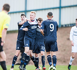 Falkirk's players cele Raith Rovers Dougie Hill own goal.<br /> Half time : Raith Rovers 2 v 1 Falkirk, Scottish Championship game today at Starks Park.<br /> &copy; Michael Schofield.