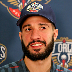 Jan 21, 2013; New Orleans, LA, USA; New Orleans Hornets point guard Greivis Vasquez is interview during a press conference to announce the rebranding of the New Orleans Hornets renaming them the New Orleans Pelicans at the New Orleans Arena. Mandatory Credit: Derick E. Hingle-USA TODAY Sports