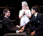 Loot <br /> by Joe Orton <br /> at Park Theatre, London, Great Britain <br /> press photocall <br /> 22nd August 2017 <br /> directed by Michael Fentiman <br /> <br /> Sam Frenchum as Hal <br /> Sinead Matthews as Fay <br /> Calvin Demba as Dennis <br /> <br /> <br /> <br /> <br /> <br /> Photograph by Elliott Franks <br /> Image licensed to Elliott Franks Photography Services