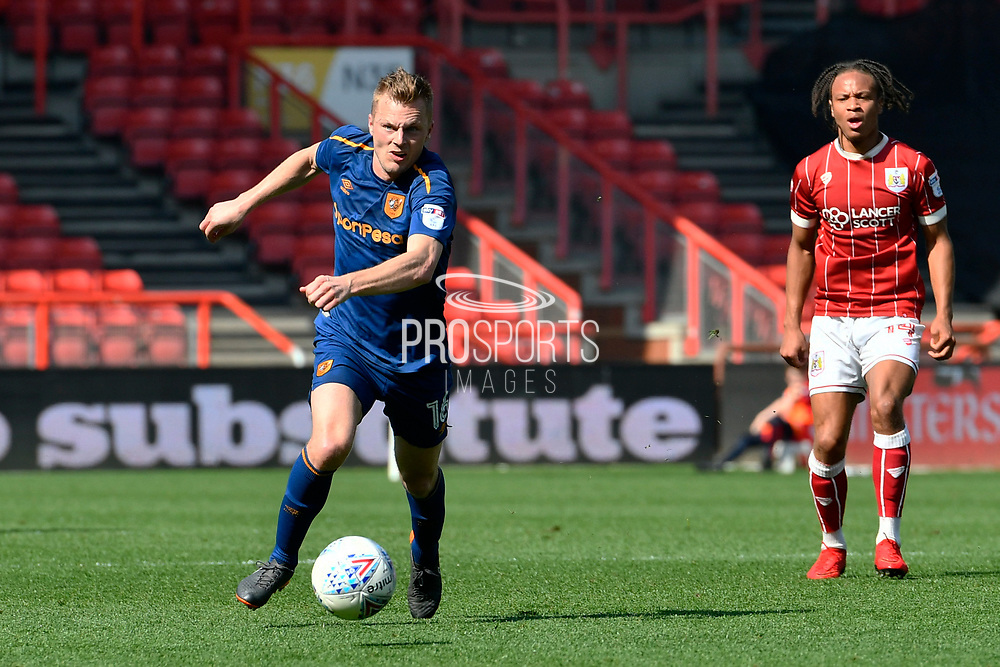 Sebastian Larsson (16) of Hull City on the attack during the EFL Sky Bet Championship match between Bristol City and Hull City at Ashton Gate, Bristol, England on 21 April 2018. Picture by Graham Hunt.