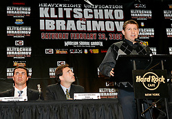 December 4, 2007; New York, NY, USA;   WBO Heavyweight Champion Sultan Ibragimov (r), speaks at the press conference announcing his February 23, 2008 unification fight against IBF/IBO Heavyweight Champion Wladimir Klitschko (l).  The two fighters will meet at Madison Square Garden.