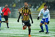 G&Ouml;TEBORG - 2018-02-18: Daleho Irandust i BK H&auml;cken jublar efter att ha gjort 1-0 under matchen i Svenska Cupen, grupp 4, mellan BK H&auml;cken och IFK V&auml;rnamo den 18 februari 2018 p&aring; Bravida Arena i G&ouml;teborg, Sverige.<br /> Foto: Anders Ylander/Ombrello<br /> ***BETALBILD***