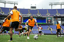 BALTIMORE, MD - Friday, July 27, 2012: Liverpool's Andy Carroll during a training session ahead of the pre-season friendly match against Tottenham Hotspur at the M&T Bank Stadium. (Pic by David Rawcliffe/Propaganda)