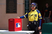ANAHEIM, CA - APRIL 26:  A security guard smiles as she works the entry gate to the Los Angeles Angels of Anaheim game against the Seattle Mariners at Angel Stadium on Sunday, April 26, 2009 in Anaheim, California.  The Angels shut out the Mariners 8-0.  (Photo by Paul Spinelli/MLB Photos via Getty Images)