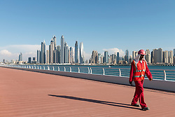 Skyline of skyscrapers from new public boardwalk under construction on The Palm Jumeirah  in  Marina district of Dubai United Arab Emirates