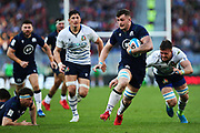 Magnus Bradbury of Scotland (C) and Braam Steyn of Italy (R) in action during the Guinness Six Nations 2020, rugby union match between Italy and Scotland on February 22, 2020 at Stadio Olimpico in Rome, Italy - Photo Federico Proietti / ProSportsImages / DPPI