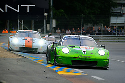 June 17, 2018 - Le Mans, Sarthe, France - Proton Competition PORSCHE 911 RSR Driver PATRICK LONG (USA) in action during the 86th edition of the 24 hours of Le Mans 2nd round of the FIA World Endurance Championship at the Sarthe circuit at Le Mans - France (Credit Image: © Pierre Stevenin via ZUMA Wire)