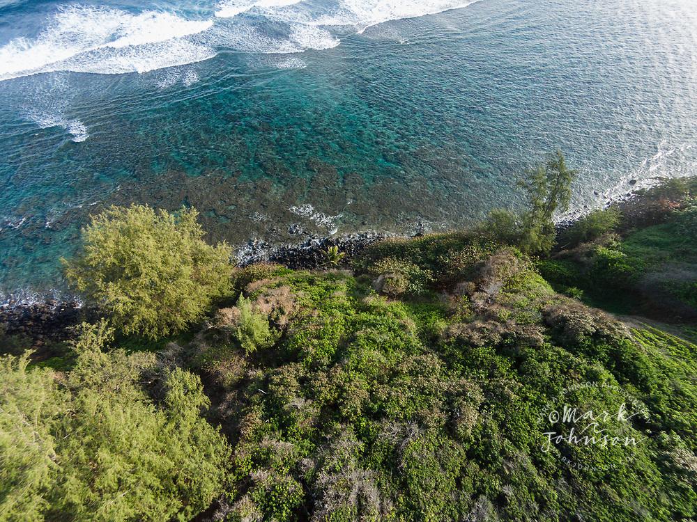 Aerial photograph of Pila'a beach, Kauai, Hawaii