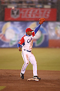 MEXICO CITY - MARCH 12: Shortstop Luis Miguel Nava #3 of Cuba reaches up to catch a throw from the outfield after a hit by Mexico in Pool B, game 6 in the first round of the 2009 World Baseball Classic at Foro Sol Stadium in Mexico City, Mexico, on Thursday March 12, 2009. Cuba got a mercy rule win over Mexico by virtue of a 16-4 score in the seventh inning. (Photo by Paul Spinelli/WBCI/MLB Photos) *** Local Caption *** Luis Miguel Nava