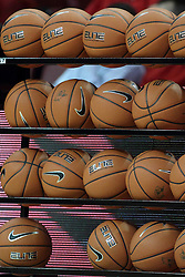 20 November 2013:  rack of basketballs with one missing during an NCAA Non-Conference mens basketball game between theJaspers of Manhattan and the Illinois State Redbirds in Redbird Arena, Normal IL