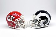 Detailed view of Kansas City Chiefs  and Los Angeles Rams  helmets.