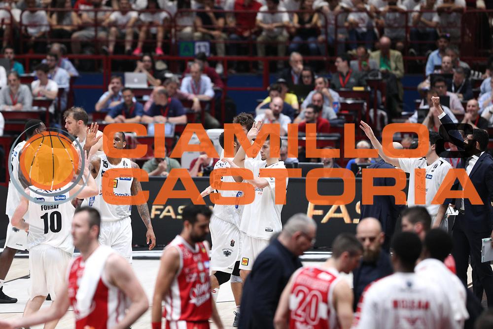 Esultanza Trento, EA7 Emporio Armani Milano vs Energia Dolomiti Trentino LBA Serie A Playoff Semifinale gara 1 stagione 2016/2017 Mediolanum Forum Assago, Milano 25 maggio 2017
