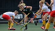 Surbiton's  sarah page cuts through the Den Bosch defence during their semi final of the EHCC 2017 at Den Bosch HC, The Netherlands, 3rd June 2017