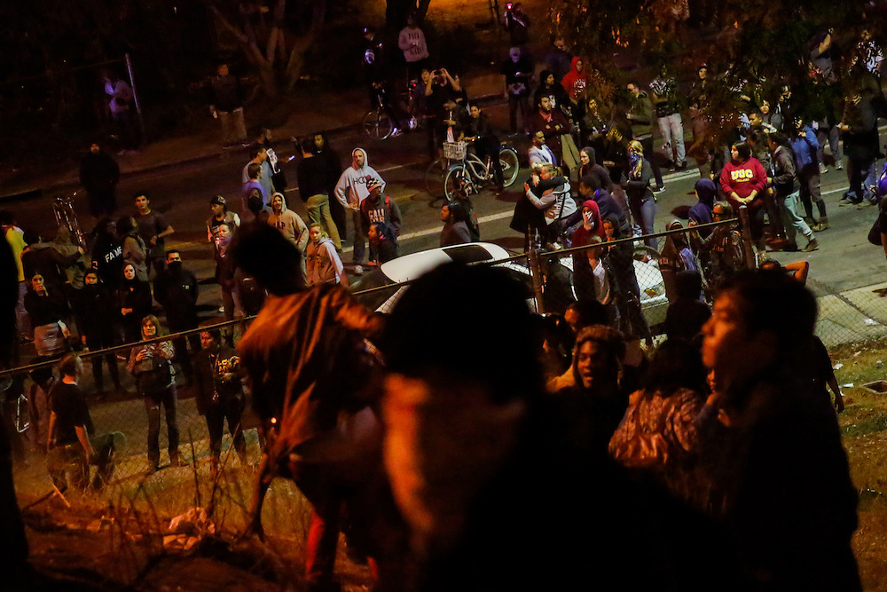 Protestors on Pico Blvd as seen from the 110 Freeway. People protest the decision of the Ferguson grand jury and the death of Michael Brown on Monday, November 24, 2014 in Los Angeles, Calif. (Patrick T. Fallon/ For the Los Angeles Times)