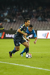 October 21, 2017 - Napoli, Napoli, Italy - Naples - Italy 21/10/2017.MARQUES LOUREIRO ALLAN of  S.S.C. NAPOLI   and  YUTO NAGATOMO of   Inter  fights for the ball during Serie A  match between S.S.C. NAPOLI and Inter  at Stadio San Paolo of Naples. (Credit Image: © Emanuele Sessa/Pacific Press via ZUMA Wire)