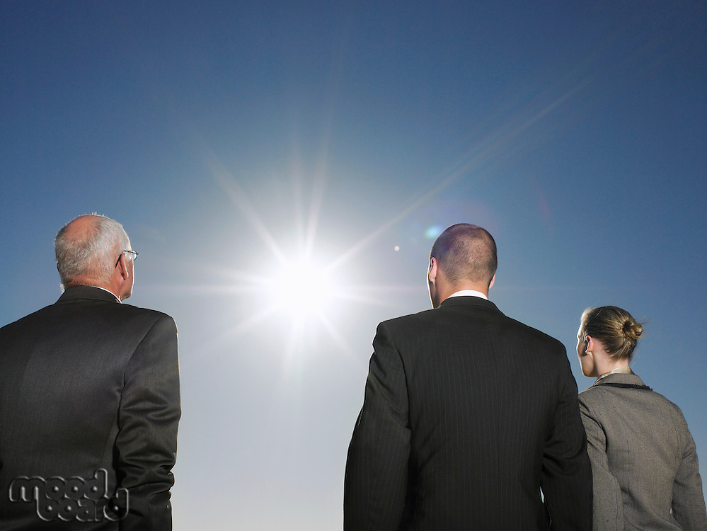 Three Businesspeople Looking at Sun