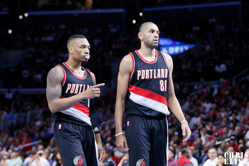 08 November 2014: Portland Trail Blazers guard Damian Lillard (0) is seen next to Portland Trail Blazers forward Nicolas Batum (88) during the Los Angeles Clippers 106-102 victory over the Portland Trail Blazers, at the Staples Center, Los Angeles, California, USA.