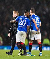 Football - 2019 Betfred Scottish League Cup Final - Celtic vs. Rangers<br /> <br /> Celtic manager Neil Lennon and Alfredo Morelos of Rangers at full time, Hampden Park Glasgow.<br /> <br /> COLORSPORT/BRUCE WHITE