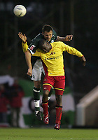 Photo: Lee Earle.<br /> Plymouth Argyle v Watford. The FA Cup. 11/03/2007.Watford's Steven Kabba (R) is challenged by Krisztian Timar.