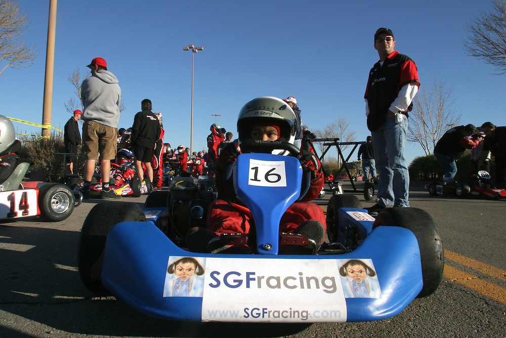 Chloe St. George, 6 years-old, drives her go kart at the International Karting Federation race in Primm, Nevada on Saturday March 3, 2007. Chloe is one of a handful of female competitors in this sport. She started competing only six months ago..