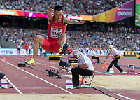 Athletics - 2017 IAAF London World Athletics Championships - Day One<br /> <br /> Event: Men's Long Jump Qualifying<br /> <br /> Jianen Wang (China) in the air <br /> <br /> COLORSPORT/DANIEL BEARHAM