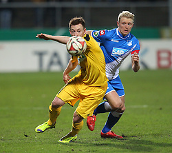 03.03.2015, Scholz Arena, Aalen, GER, DFB Pokal, VfR Aalen vs TSG 1899 Hoffenheim, Achtelfinale, im Bild Links Michael Klauss (VfR Aalen) rechts Andreas Beck ( TSG 1899 Hoffenheim ) // during German DFB Pokal last sixteen match between VfR Aalen and TSG 1899 Hoffenheim at the Scholz Arena in Aalen, Germany on 2015/03/03. EXPA Pictures © 2015, PhotoCredit: EXPA/ Eibner-Pressefoto/ Langer<br /> <br /> *****ATTENTION - OUT of GER*****