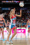 SYDNEY, NSW - JUNE 16: Helen Housby of the Swifts passes the ball during the round 8 Super Netball match between the Sydney Swifts and the Giants at Qudos Bank Arena on June 16, 2019 in Sydney, Australia.(Photo by Speed Media/Icon Sportswire)