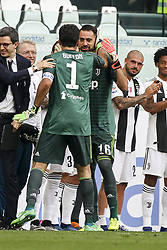 May 19, 2018 - Turin, Italy - Juventus goalkeeper Gianluigi Buffon (1) greets Juventus goalkeeper Carlo Pinsoglio (16) during his last football match JUVENTUS - VERONA on 19/05/2018 at the Allianz Stadium in Turin, Italy. (Credit Image: © Matteo Bottanelli/NurPhoto via ZUMA Press)