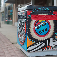 """Land of the Enchanted,"" painted by Santana Blue Eyes is one of 27 trash cans painted by local artists in downtown Gallup the public can vote on to chose their favorite."