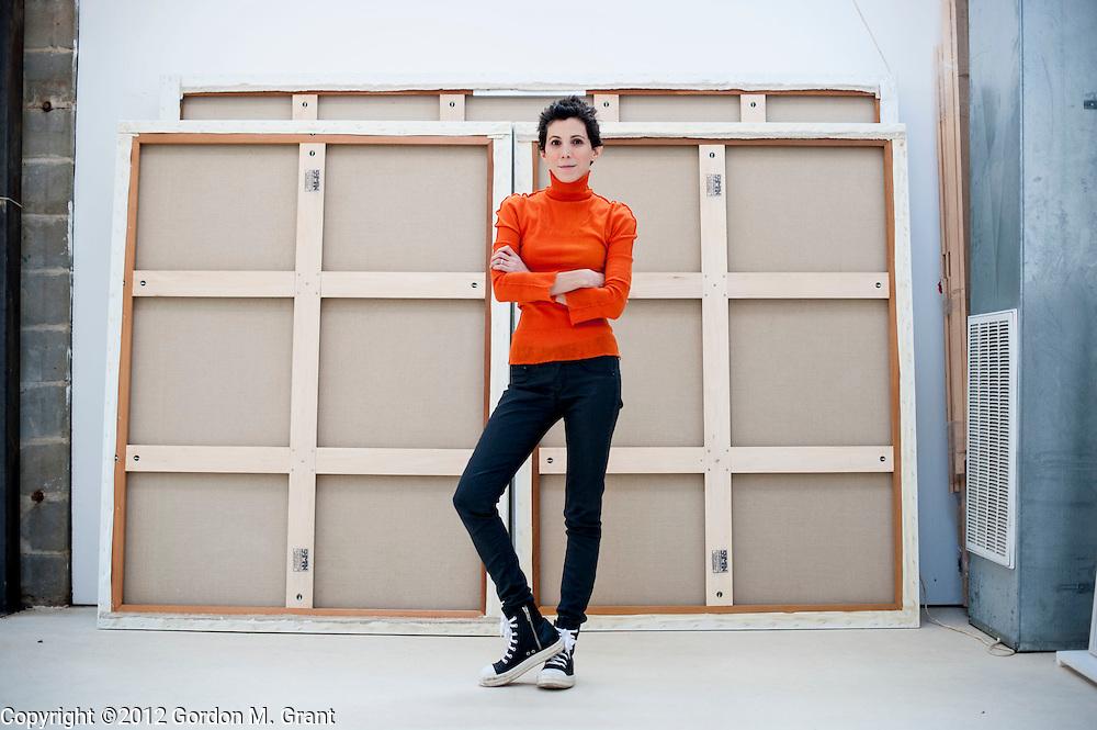 Sagaponack, NY - 12/11/12 - The painter Joa Baldinger at her studio in Sagaponack, NY December 11, 2012.   (Photo by Gordon M. Grant)
