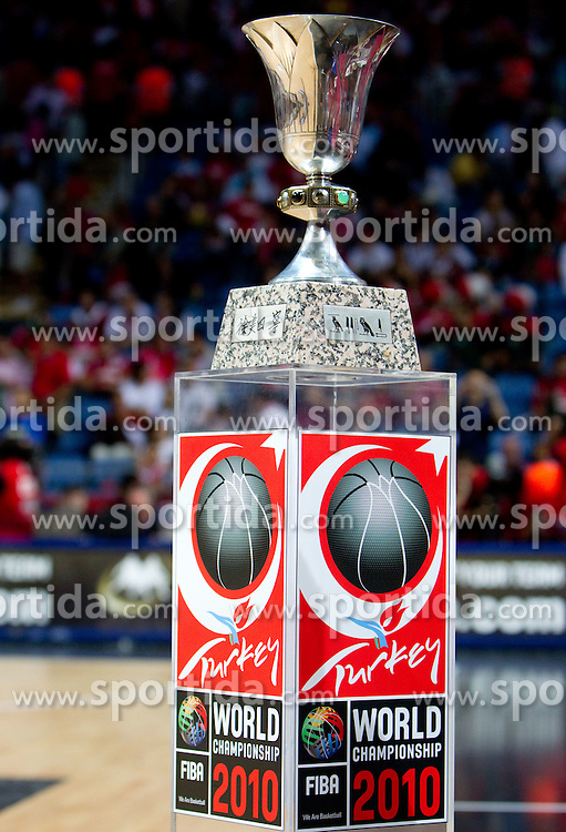 The trophy during the finals basketball match between National teams of Turkey and USA at 2010 FIBA World Championships on September 12, 2010 at the Sinan Erdem Dome in Istanbul, Turkey.   (Photo By Vid Ponikvar / Sportida.com)