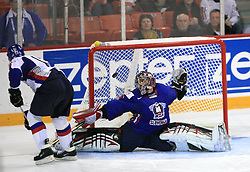 Juraj Kolnik of Slovakia scored a penalty shot vs Goalkeeper of Slovenia Andrej Hocevar at ice-hockey game Slovenia vs Slovakia at second game in  Relegation  Round (group G) of IIHF WC 2008 in Halifax, on May 10, 2008 in Metro Center, Halifax, Nova Scotia, Canada. Slovakia won after penalty shots 4:3.  (Photo by Vid Ponikvar / Sportal Images)