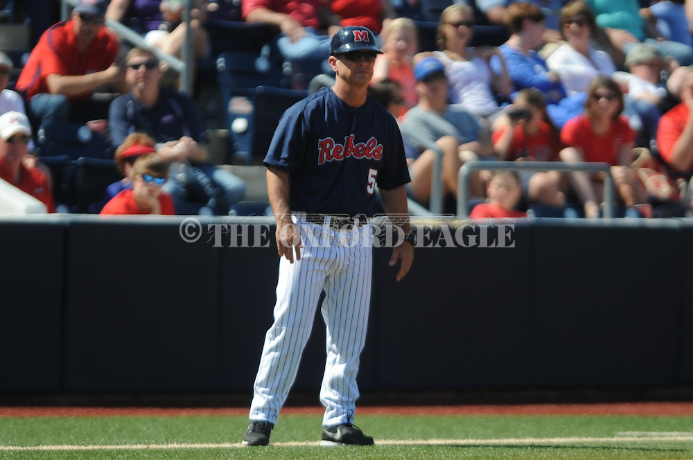 Mississippi head coach Mike Bianco takes over coaching from third base after third base coach Cliff Godwin was ejected vs. LSU at Oxford-University Stadium in Oxford, Miss. on Saturday, April 19, 2014. (AP Photo/Oxford Eagle, Bruce Newman)