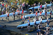 London, United Kingdom.  Crews Boating from Barnes Bridge Ladies BC and Cynet BC,. 2014 Women's Head of the River Race. Chiswick to Putney, River Thames.  Saturday  15/03/2014    [Mandatory Credit; Peter Spurrier/Intersport-images]