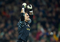 BARCELONA, SPAIN - NOVEMBER 29: Joy Victor Valdes of Barcelona during the La Liga match between Barcelona and Real Madrid at the Camp Nou Stadium on November 29, 2010 in Barcelona, Spain. (Photo by Manuel Queimadelos/DPPI)