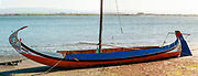 Moliceiro. Traditional Portuguese sail boat traditionally used for harvesting seaweed, beached on the shore of Aveiro Lagoon., Portugal