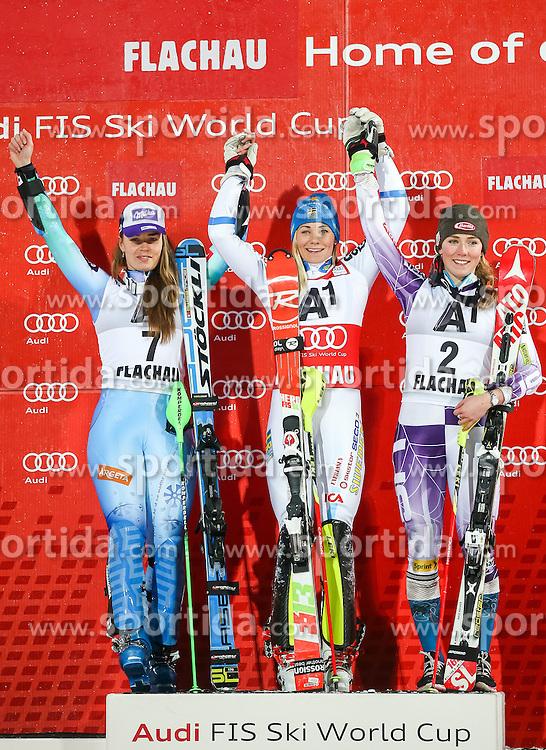 13.01.2015, Hermann Maier Weltcupstrecke, Flachau, AUT, FIS Weltcup Ski Alpin, Flachau, Slalom, Damen, Siegerehrung, im Bild v.l.: Tina Maze (SLO, 2. Platz), Frida Hansdotter (SWE, 1. Platz), Mikaela Shiffrin (USA, 3. Platz) // f.l.: 2nd placed Tina Maze of Slovenia, Winner Frida Hansdotter of Sweden and 3rd placed Mikaela Shiffrin of the USA celebrate on Podium during the award ceremony for the ladie's Slalom of the FIS Ski Alpine World Cup at the Hermann Maier Weltcupstrecke in Flachau, Austria on 2015/01/13. EXPA Pictures © 2015, PhotoCredit: EXPA/ JOHANN GRODER