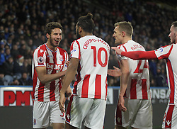 Ramadan Sobhi of Stoke City (L) celebrates after scoring his sides first goal - Mandatory by-line: Jack Phillips/JMP - 26/12/2017 - FOOTBALL - The John Smith's Stadium - Huddersfield, England - Huddersfield Town v Stoke City - English Premier League