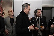 STEVE LAZARIDES;  DAVID WEBSTER; STEPHEN WEBSTER; Antony Micallef private at Lazarides Rathbone, 11 RATHBONE PLACE, London. 12 February 2015