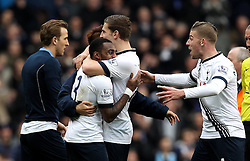 Danny Rose of Tottenham Hotspur celebrates the victory over Swansea City with his teammates after scoring the winning goal - Mandatory byline: Robbie Stephenson/JMP - 28/02/2016 - FOOTBALL - White Hart Lane - Tottenham, England - Tottenham Hotspur v Swansea City - Barclays Premier League