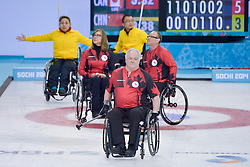 Jim Armstrong, Sonja Gaudet, Dennis Thiessen, Wheelchair Curling Semi Finals at the 2014 Sochi Winter Paralympic Games, Russia