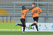 Michael Gash of Barnet and Aaron McLean of Barnet celebrate the first goal for barnet during the Sky Bet League 2 match between Barnet and Dagenham and Redbridge at Hive Stadium, London, England on 26 September 2015. Photo by Ian Lyall.