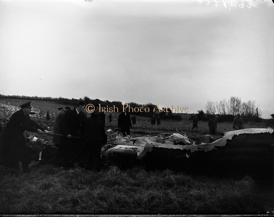 "Air Italia Crash at Shannon Airport.26/02/1960..An Alitalia Douglas DC-7C crashed after taking off from the airport, killing 34 people out of 52 passengers and crew on board...The Alitalia flight, on the Roma-Shannon-New York route, was being flown under the supervision of a check pilot. The aircraft took off from runway 05 and a left turn was initiated at 165 feet height. Height was lost during the turn, and the left wing tip contacted the ground. The left wing and no. 1 and 2 propellers then struck the stone wall and grave stones of the Clonloghan Church. The DC-7 then impacted the ground at a 170-180 knots airspeed...An official investigation following the crash concluded: ""No definite evidence leading to a particular reason for this accident was revealed by the investigation. It can only be concluded that the aeroplane lost height in a turn shortly after takeoff and struck the ground."""