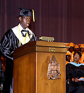 Salutatorian Celestine John Wenegieme delivers the Salutatory Address during the Fiftieth Meadowdale High School commencement at the Dayton Masonic Center, Saturday, May 21, 2011.