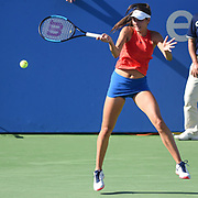 OCEANE DODIN hits a forehand during her semifinal match at the Citi Open at the Rock Creek Park Tennis Center in Washington, D.C.